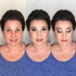 brunette bride with mauve makeup