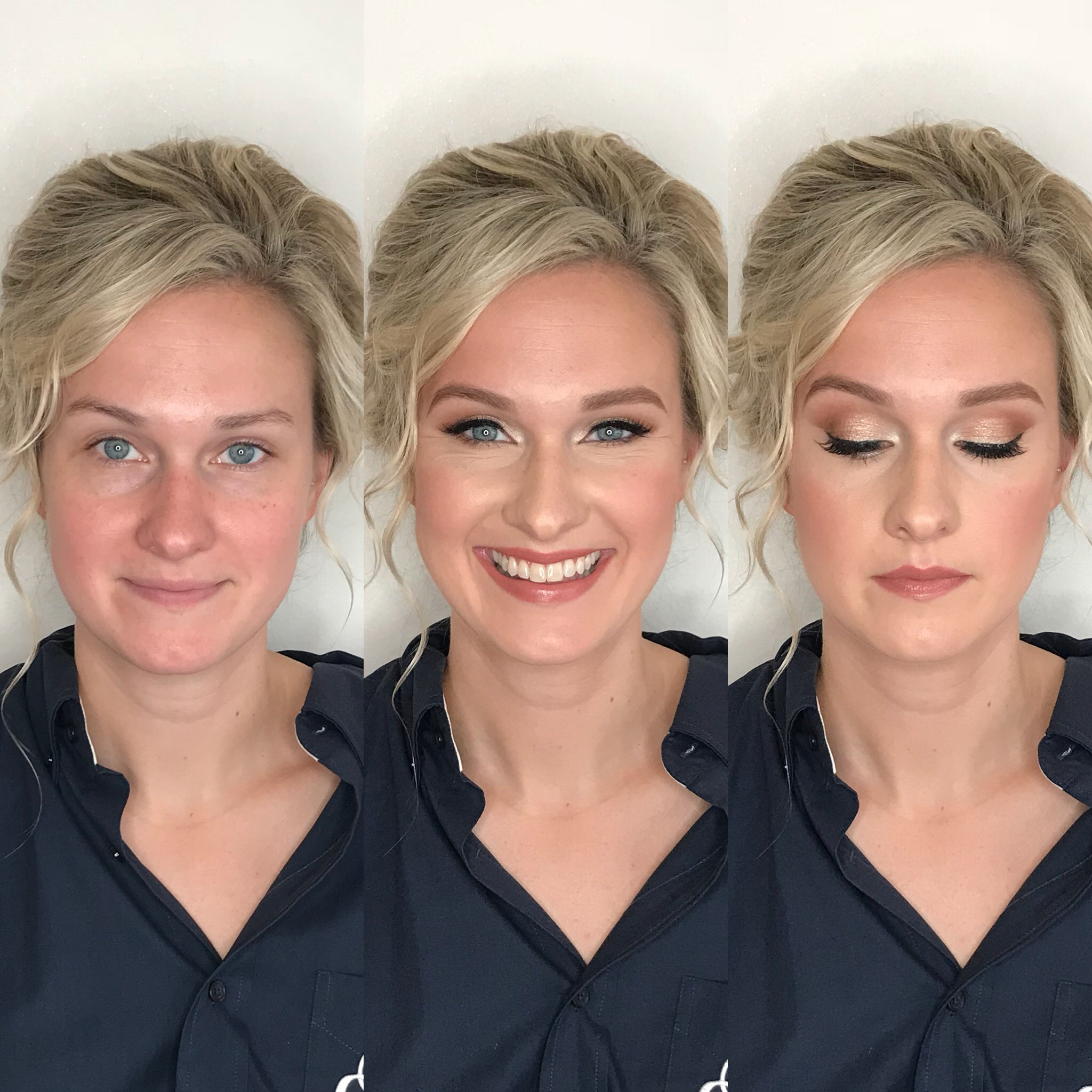 blonde bride with peach makeup