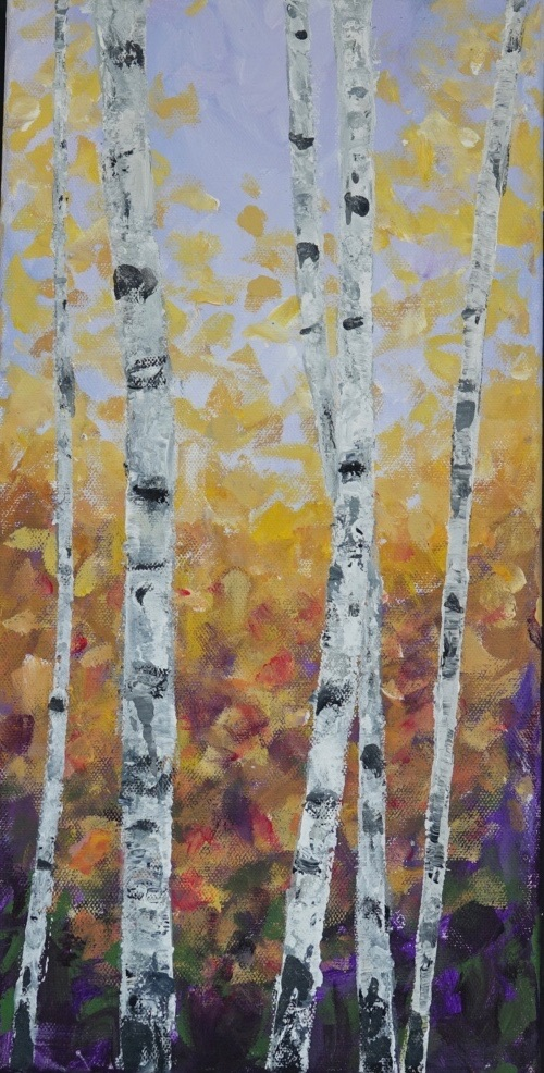 Lovely Aspens  12 x 20 Acrylic on Canvas