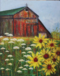 Barn with Sunflowers
