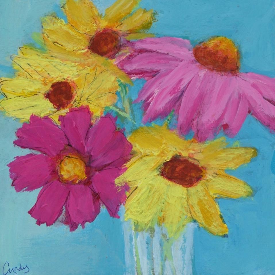 Summer Blooms  6 x 6 Acrylic on Wood