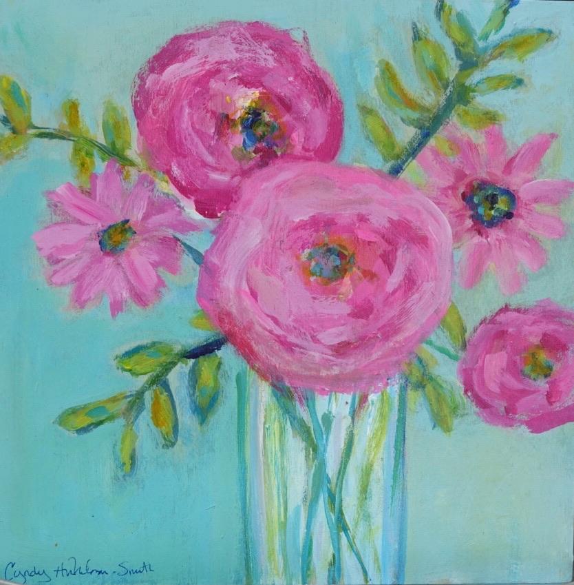 Dazzling Bouquet  10 x 10 Acrylic on Woo