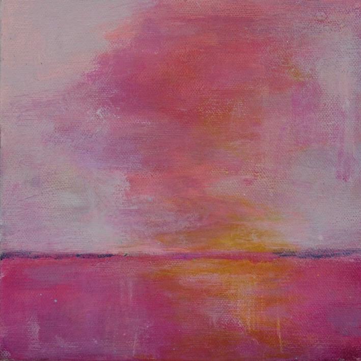 Pink Sky  8 x 8,  Acrylic on Canvas