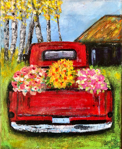 Red Truck with Flowers