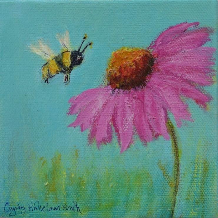 Echinacea and the Bee  5 x 5 Acrylic on