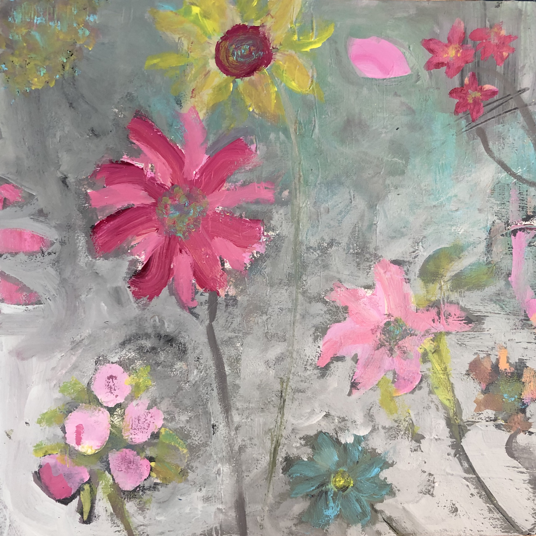 Flower Dance   12 x 12 Acrylic on Board,