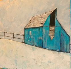 Blue Barn in Winter