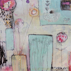 Spring Song  12 x 12 Acrylic on Wood Boa
