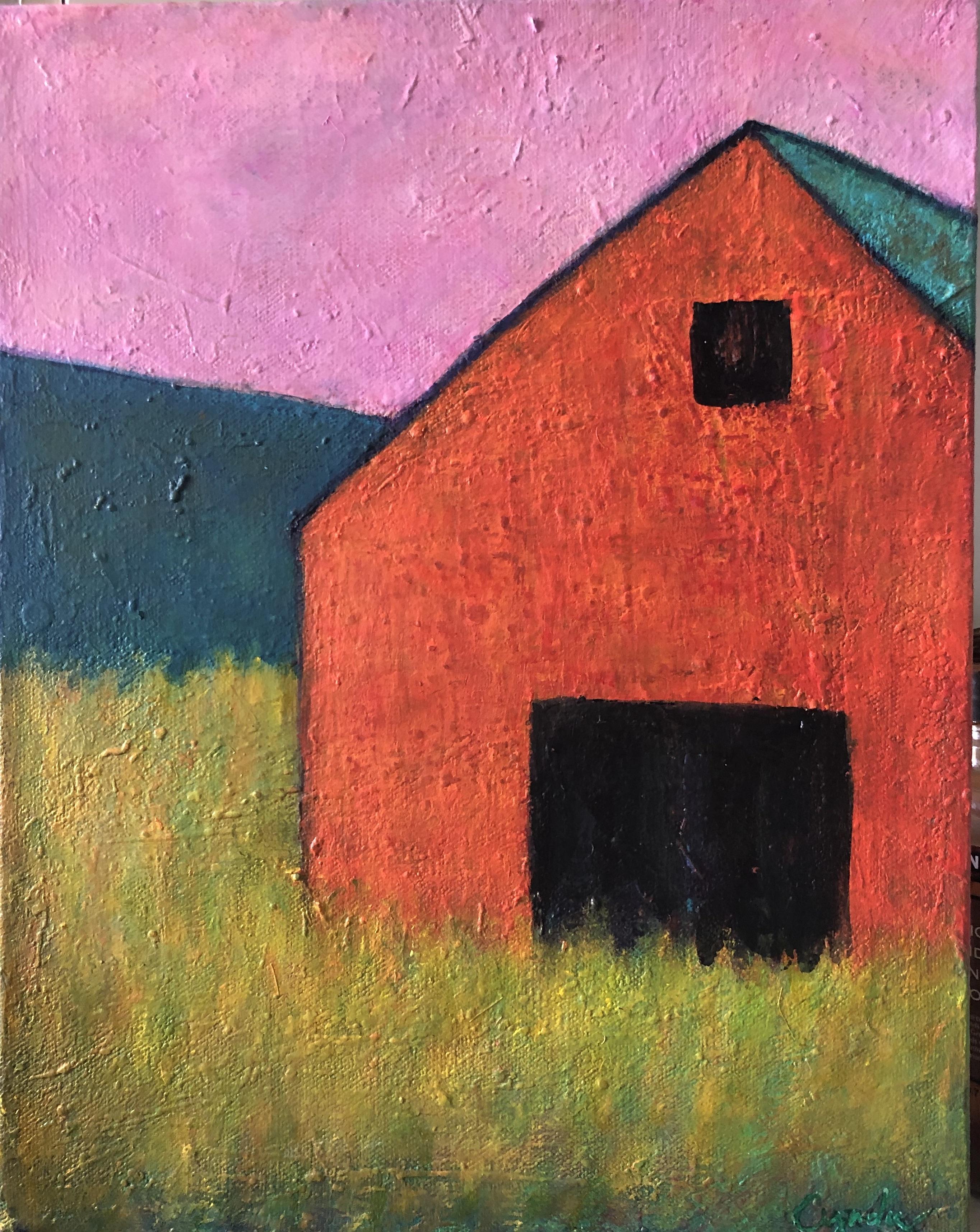 Orange Barn, Pink Sky   9 x 12  Acrylic
