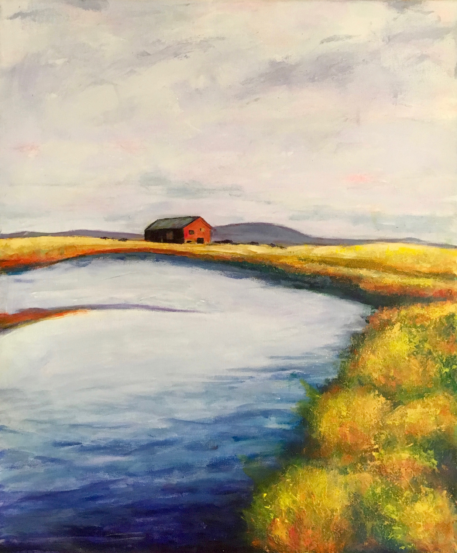 Barn on Water  16 x 20 Acrylic on Canvas