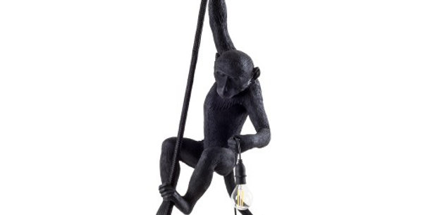 SELETTI 'MONKEY LAMP-OUTDOOR' RESIN LAMP Cm.37x25 h.76,5 - WITH ROPE - BLACK