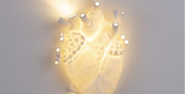 SELETTI 'HEART LAMP' PORCELAIN APLIQUE Cm.22x11 h.32