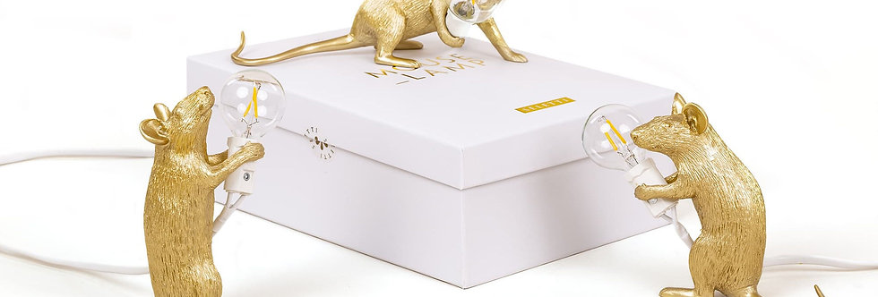 SELETTI 'MOUSE GOLD - GRAY' RESIN LAMP Cm.6x13,3 h. 14,5 - STANDING