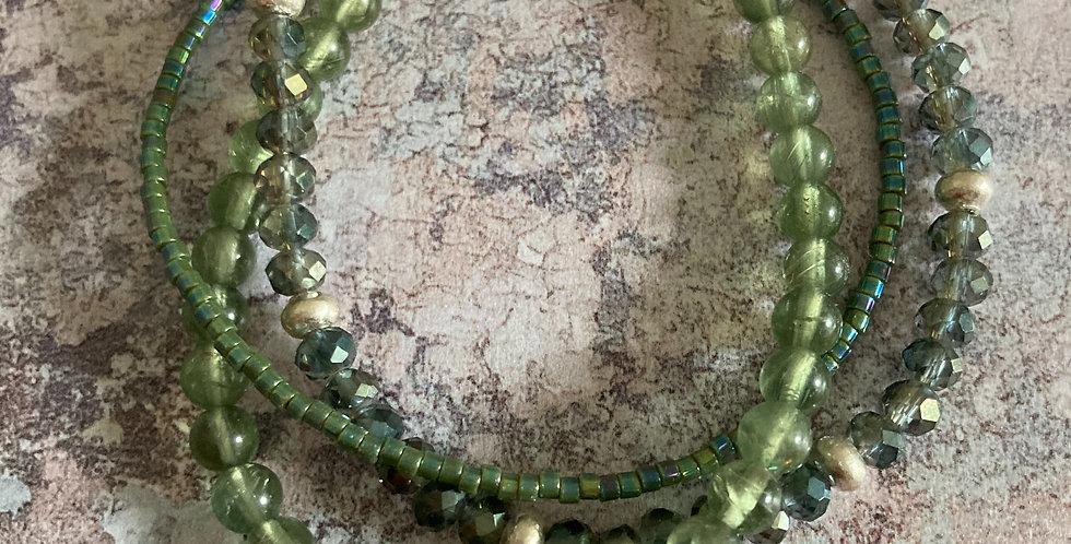 Green Garnet Triple-Twist Tie Bracelet