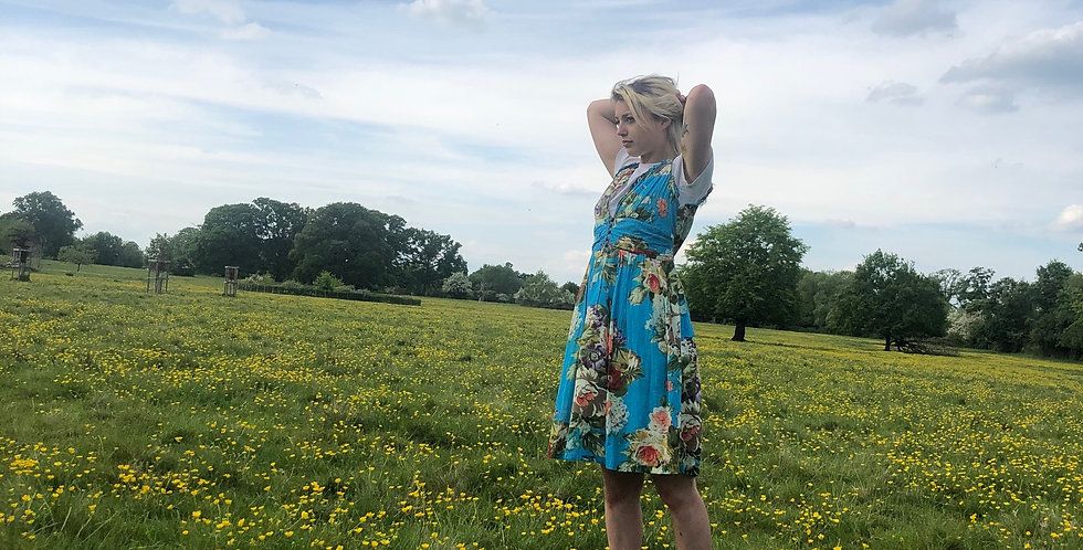 Turquoise Floral-Print Tie back dress