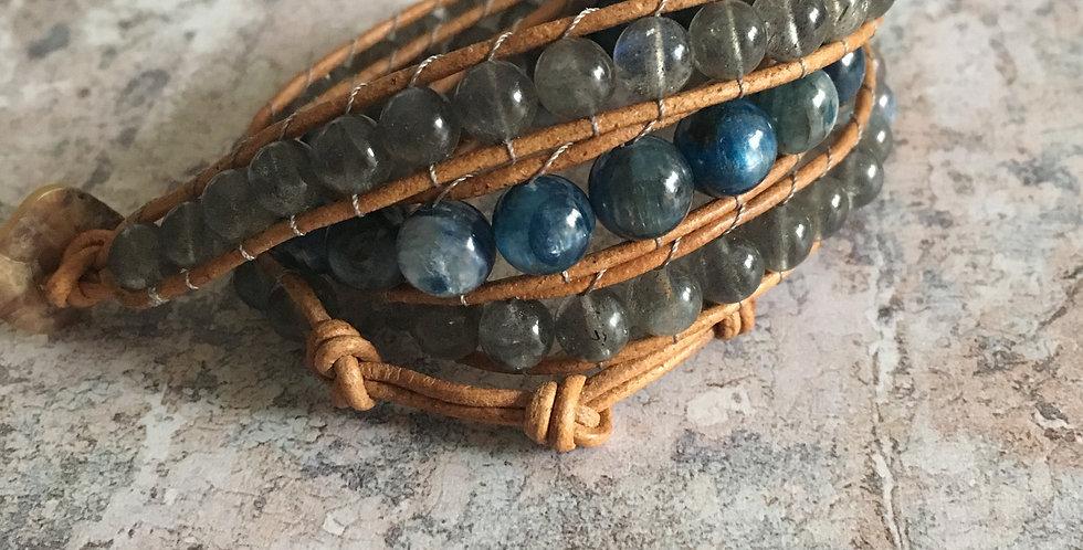 Kyanite & Labradorite wrap bracelet