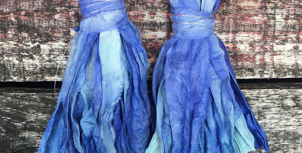 Cornflower blue recycled Sari-silk earrings