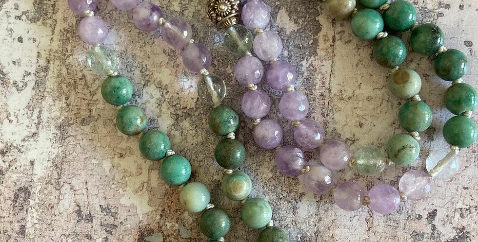 Chrysoprase & Lilac Amethyst, Green tassel necklace