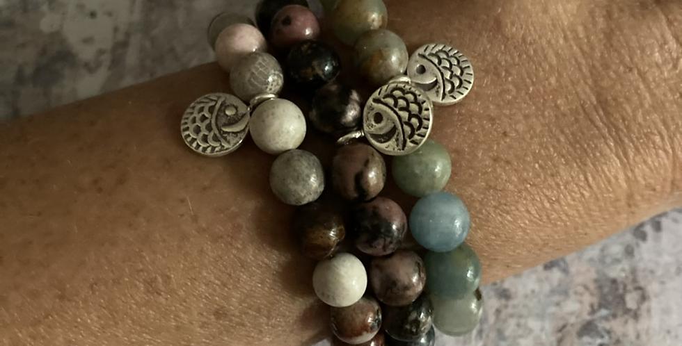 Natural Stone & Silver bracelets (coastal 2)