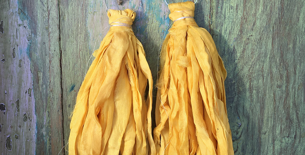 sari silk earrings (yellow)