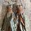 Thumbnail: Pale blue & rose patterned vintage sari-silk earrings