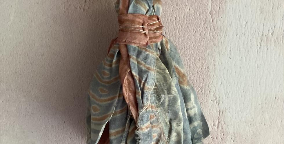 Pale blue & rose patterned vintage sari-silk earrings