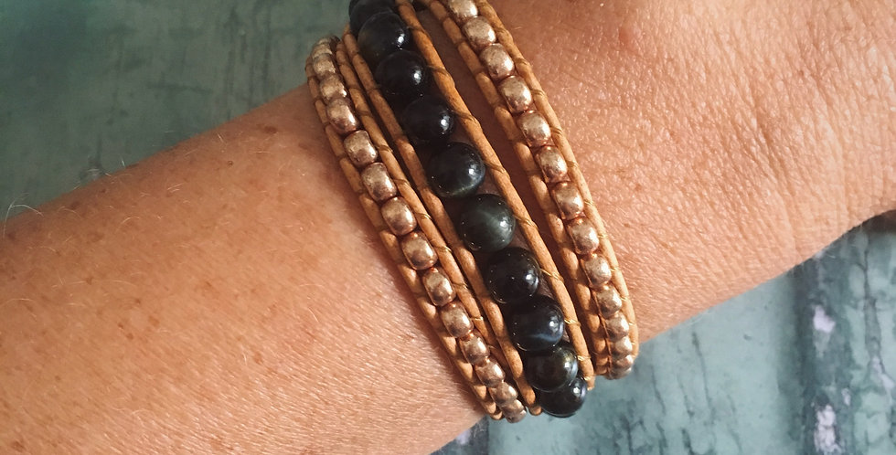 Hawk's Eye and Gold Japanese Glass wrap bracelet
