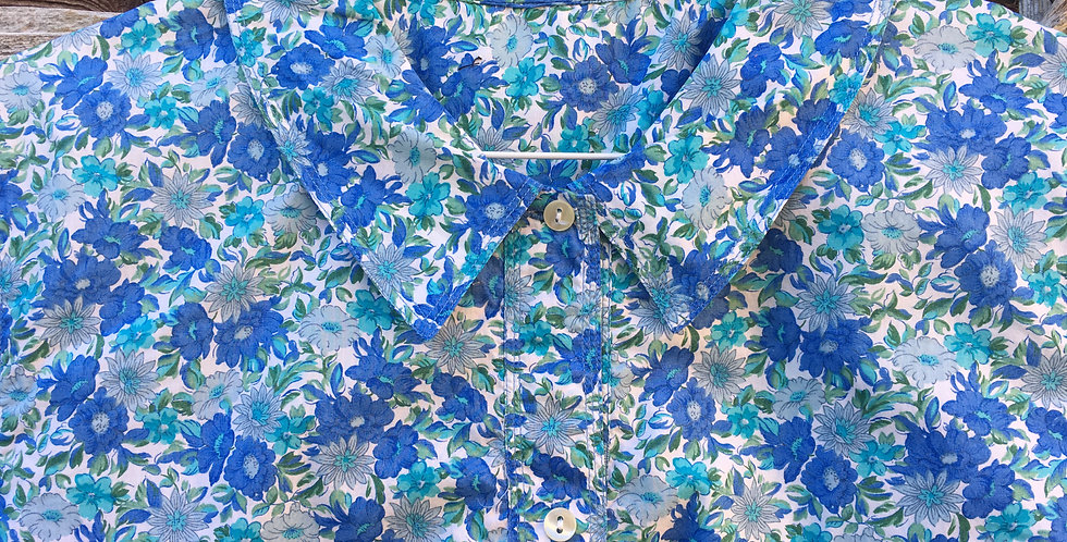 Deep blue floral cotton blouse