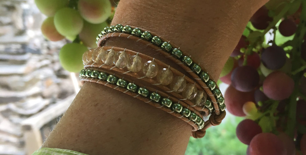 Golden Citrine & Olive Green Japanese glass wrap bracelet
