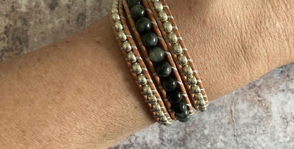 Eagle Eye and Silver Japanese Glass Wrap bracelet