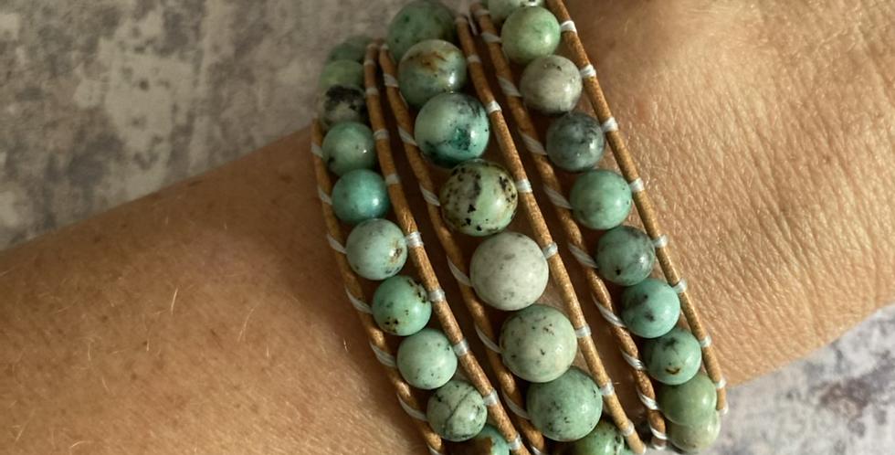 Peruvian Chrysocolla Turquoise triple wrap bracelet