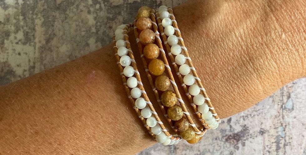 Flower Jasper & Mother of Pearl wrap bracelet