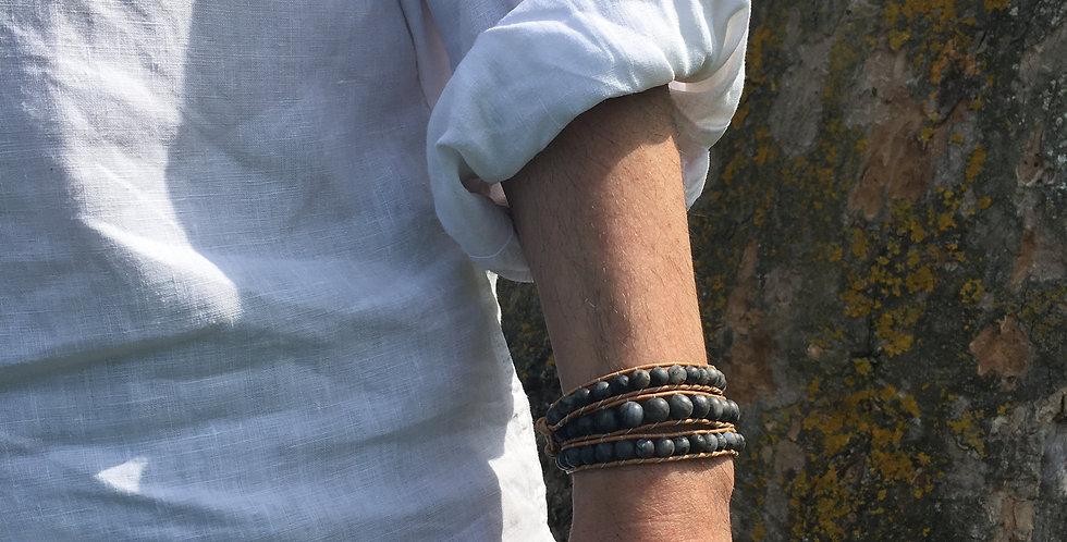 Men's Black Moonstone Wrap Bracelet
