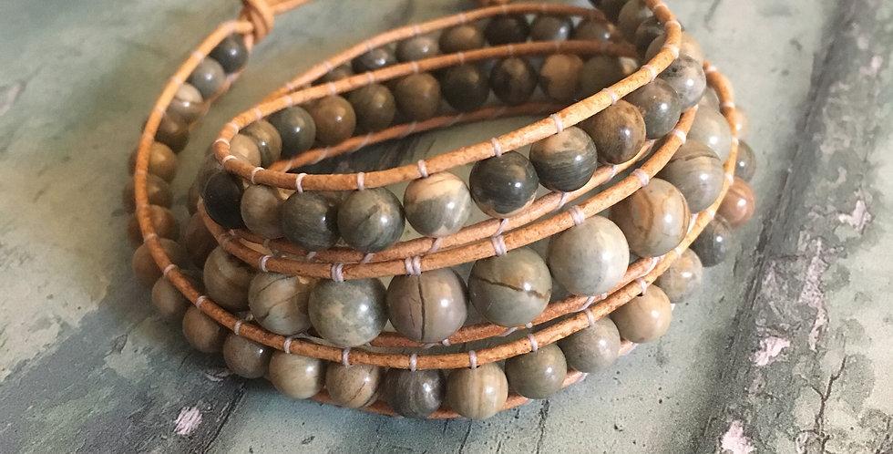 Silver Leaf Wrap bracelet