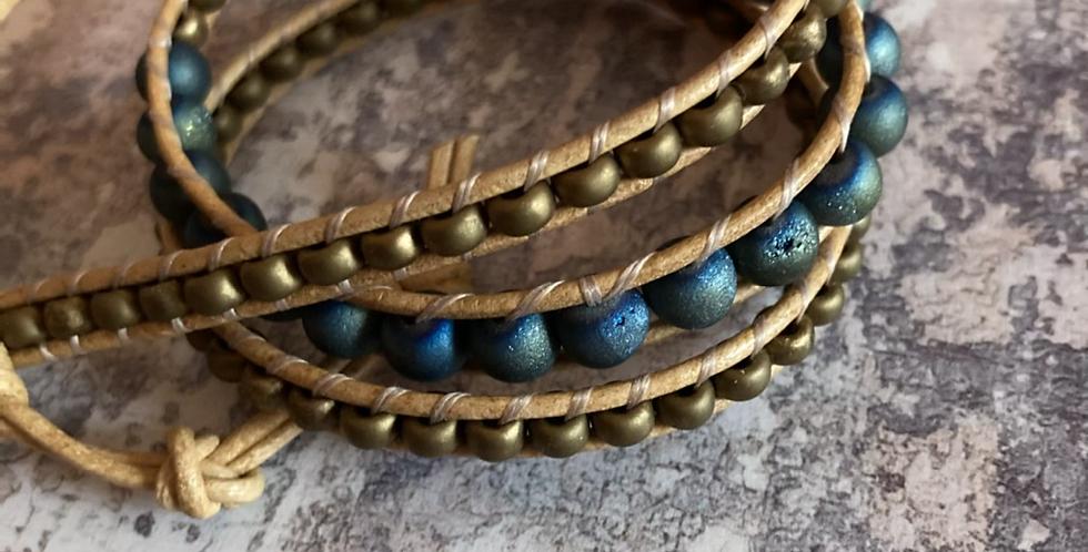 Petrol Blue Druzy stones & Matte gold Japanese glass wrap
