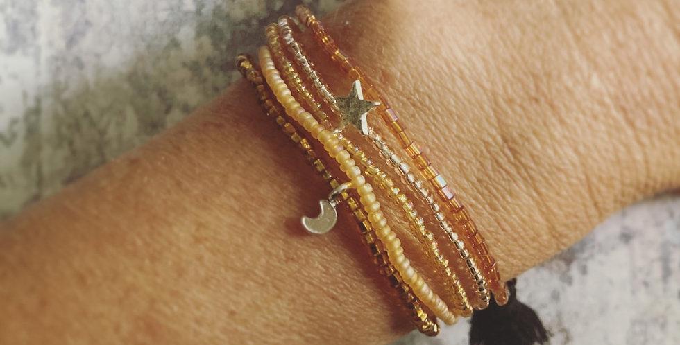 Glass & Silver Bracelet Bundle (Gold)