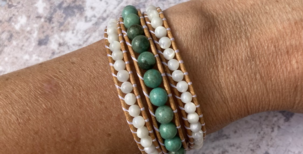 Chrysoprase & Mother of Pearl triple wrap bracelet