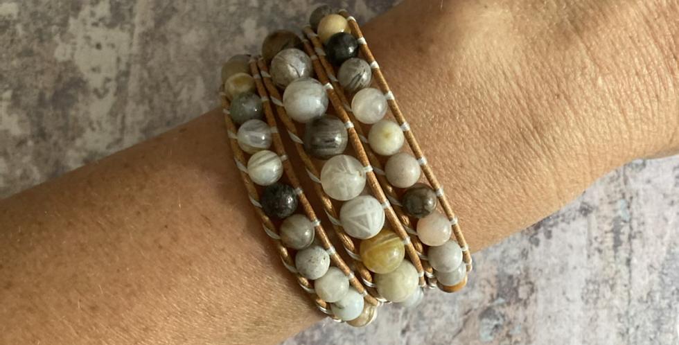 Bamboo Agate triple wrap bracelet