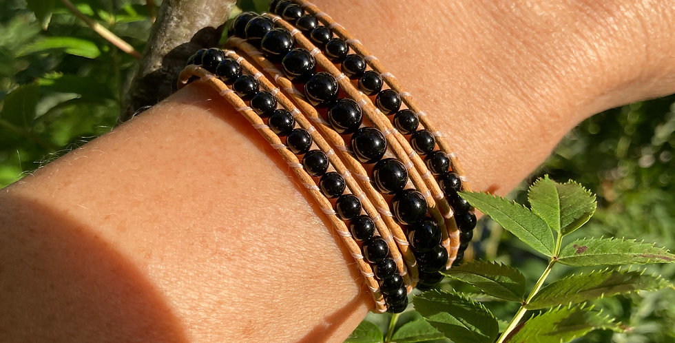 Black Tourmaline Triple wrap bracelet