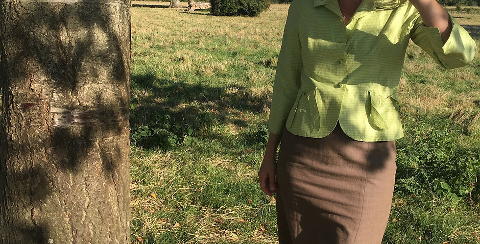 Apple green Silk Jacket (90's does 40's!)