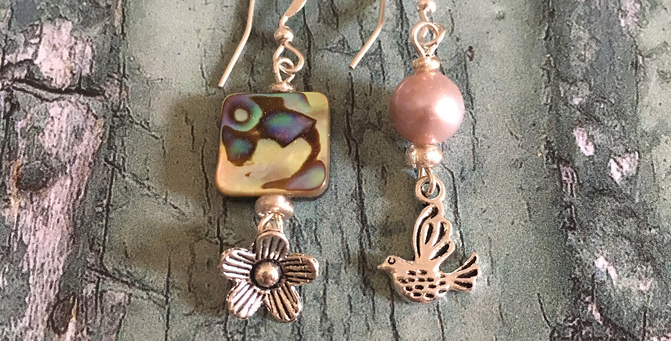 Mismatched Abalone Flower & Dove Earrings