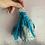 Thumbnail: 'Turquoise batik' patterned vintage sari-silk earrings