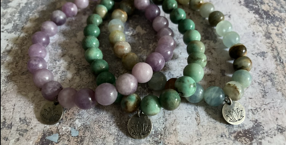 Natural Stone & Oxidised Silver bracelets (Unisex 2)