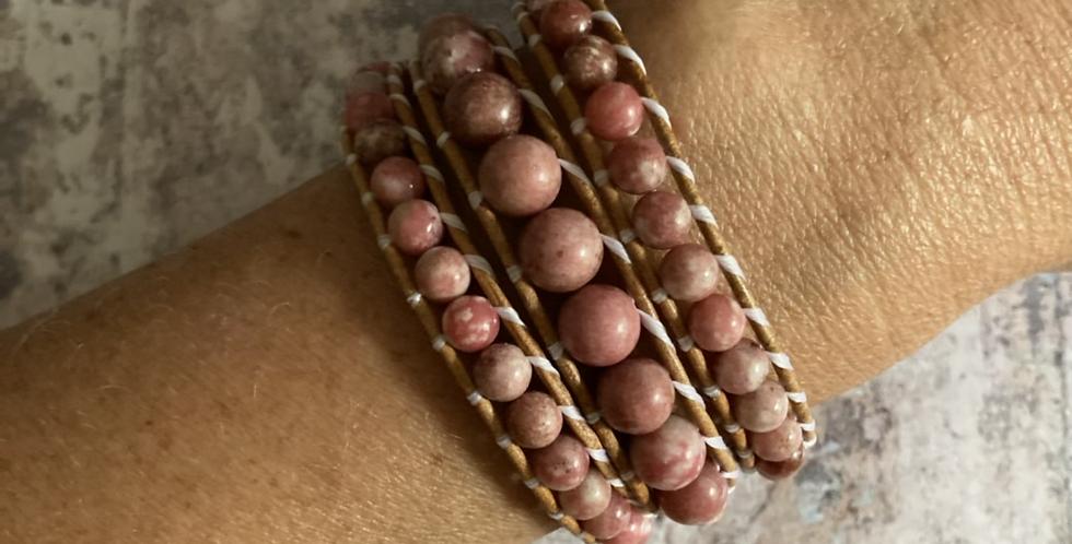 Natural Thulite triple wrap bracelet