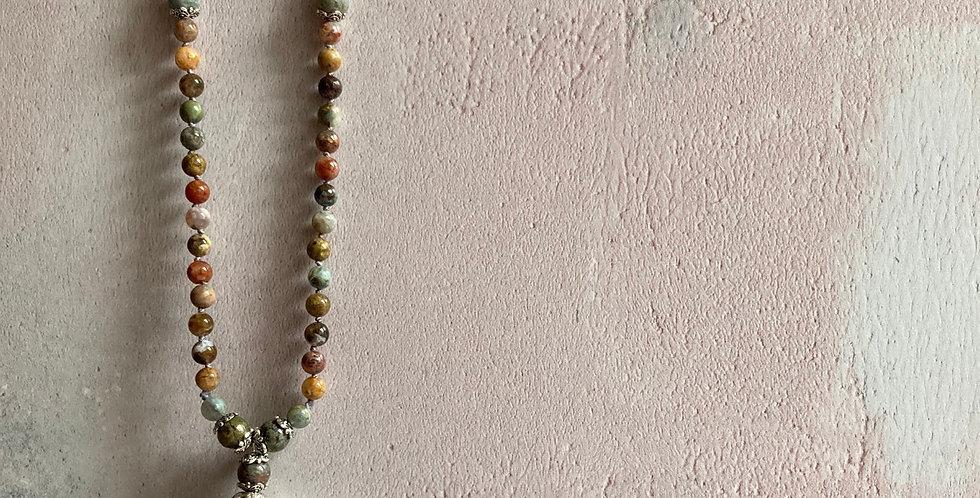 Flower Jasper Sari-silk Necklace
