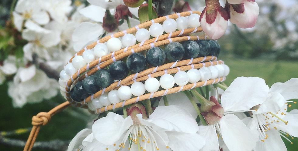 Chrysoberyl & Mother of Pearl wrap bracelet