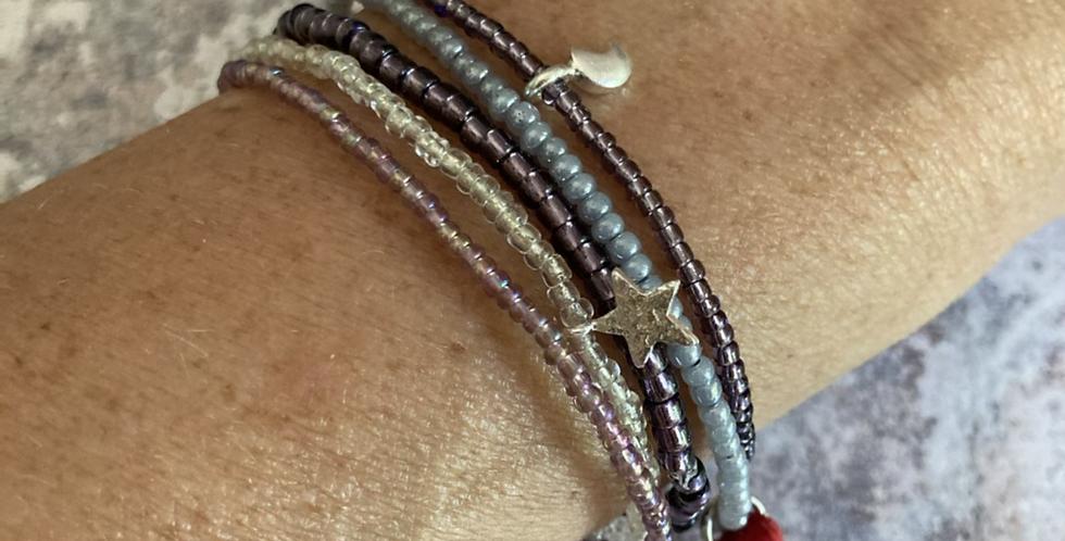 Glass & Silver Bracelet Bundle (Lilac)