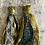 Thumbnail: Old gold & blue patterned vintage sari-silk earrings