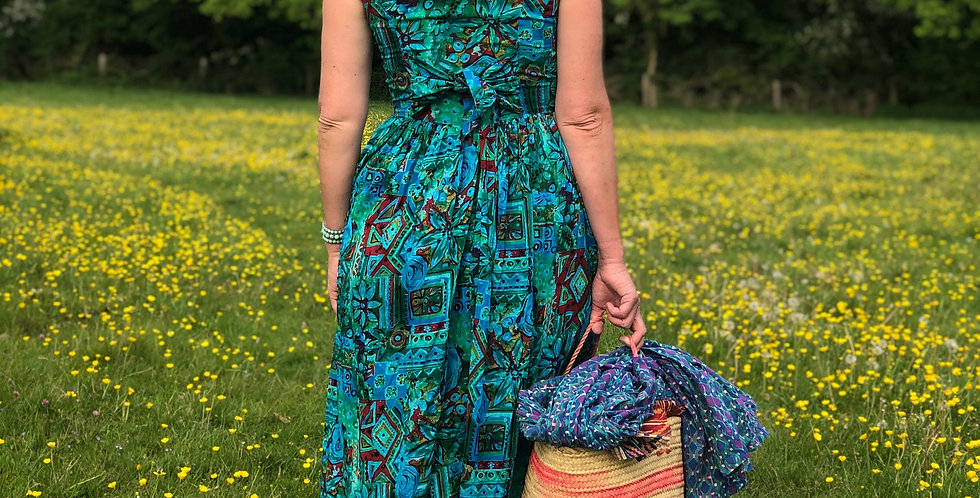 Abstract Turquoise Tie-Back dress