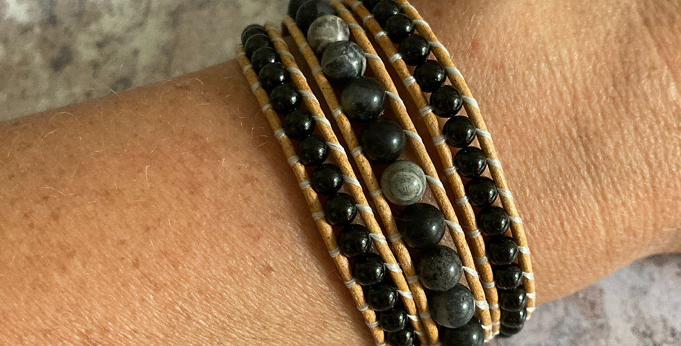 Black Silver Leaf Jasper & Black Tourmaline triple wrap